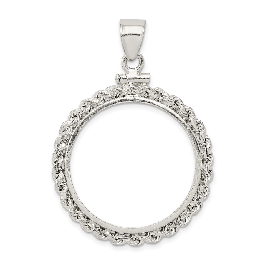 Sterling Silver 26.4 x 1.8 mm Screw Top Coin Rope Pol Bezel
