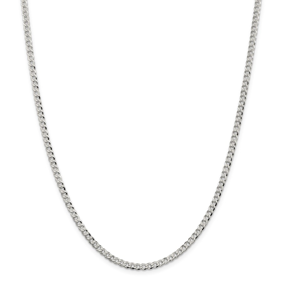 Sterling Silver 3.2 mm Beveled Curb Chain - 24 in.