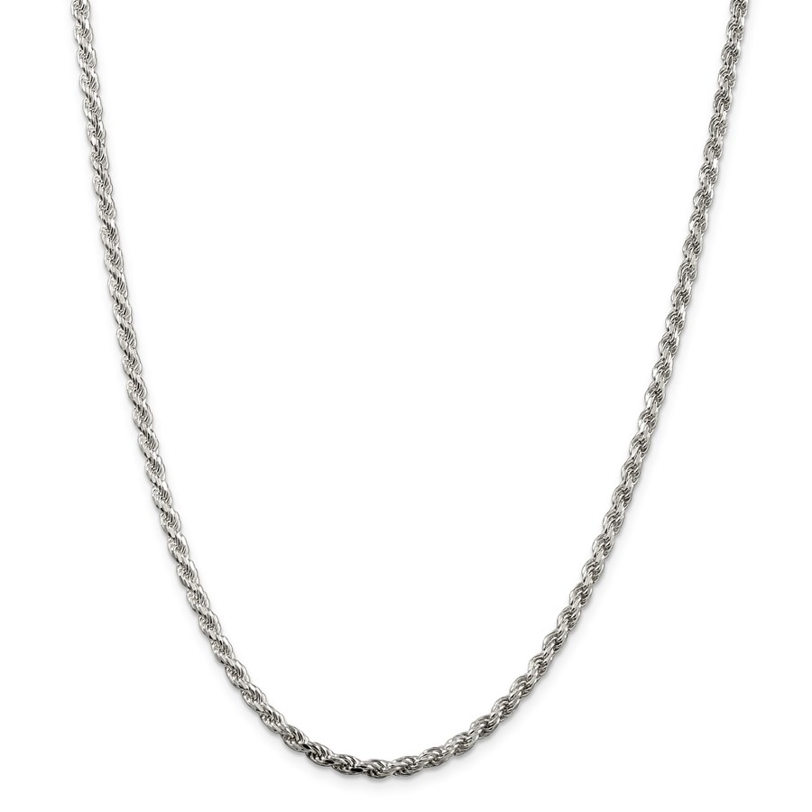 Sterling Silver 3 mm Diamond Cut Rope Chain - 24 in.