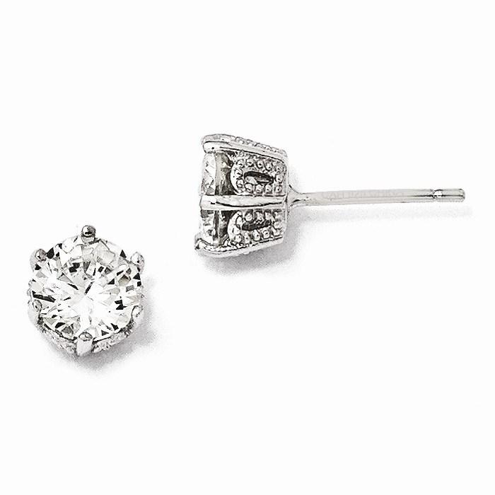 Sterling Silver 6.5 mm Zirconia Stud Earrings