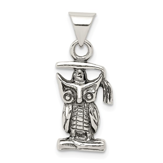 Sterling Silver Antiqued Graduation Owl Pendant