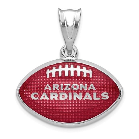 Sterling Silver Arizona Cardinals Enameled Football Pendant
