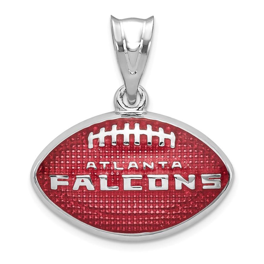 Sterling Silver Atlanta Falcons Enameled Football Pendant