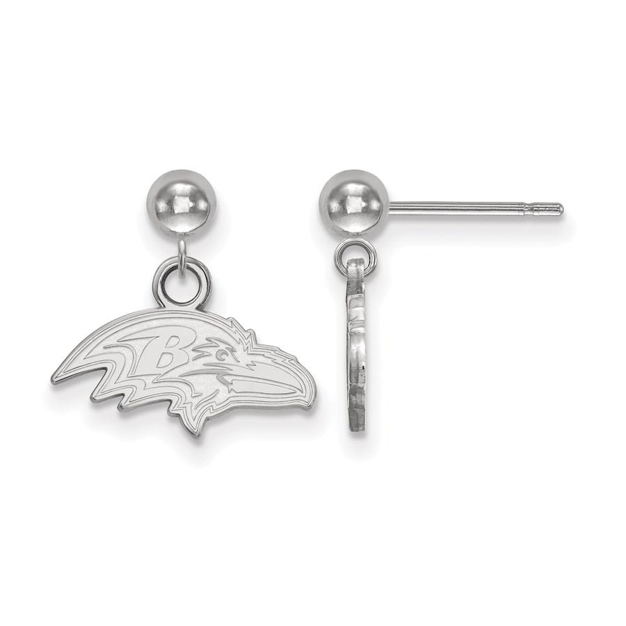 Sterling Silver Baltimore Ravens Dangle Ball Earrings