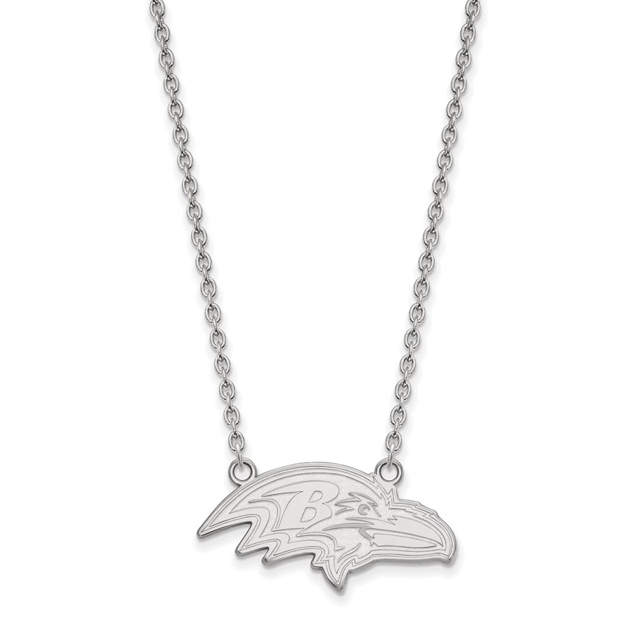 Sterling Silver Baltimore Ravens Large Pendant Necklace