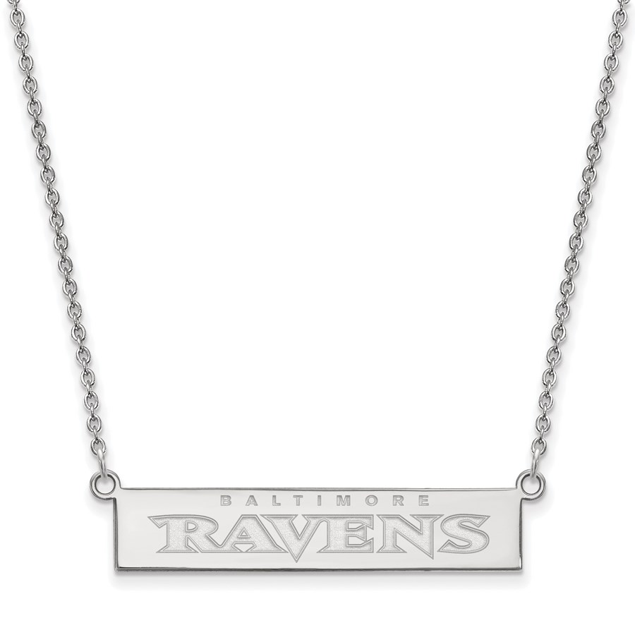 Sterling Silver Baltimore Ravens Small Bar Necklace
