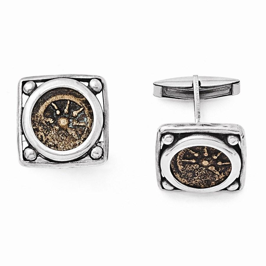 Sterling Silver & Bronze Antiqued Widows Mite Coin Cuff Links