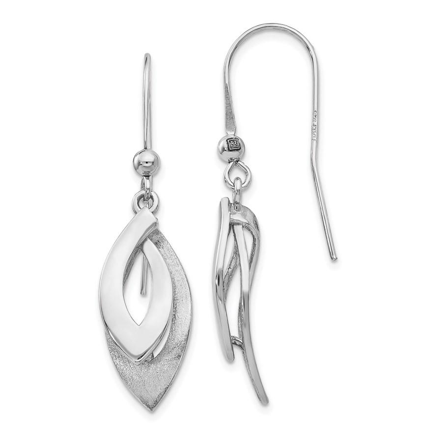 Sterling Silver Brushed Shepherd Hook Earrings - 41 mm