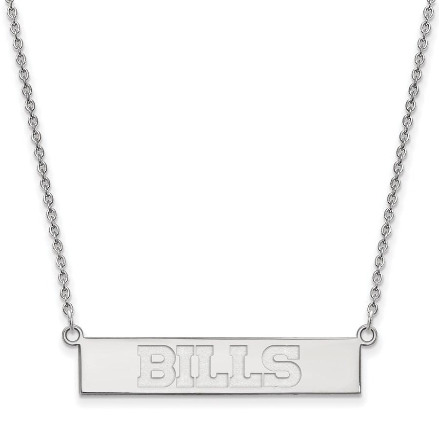 Sterling Silver Buffalo Bills Small Bar Necklace