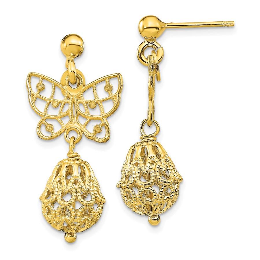 Sterling Silver Butterfly Post Dangle Earrings - 29.3 mm