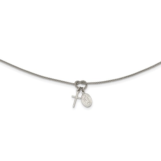 Sterling Silver Cabled Cross Knot Dangle Charm Necklace - 17 in.