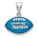 Sterling Silver Carolina Panthers Enameled Football Pendant
