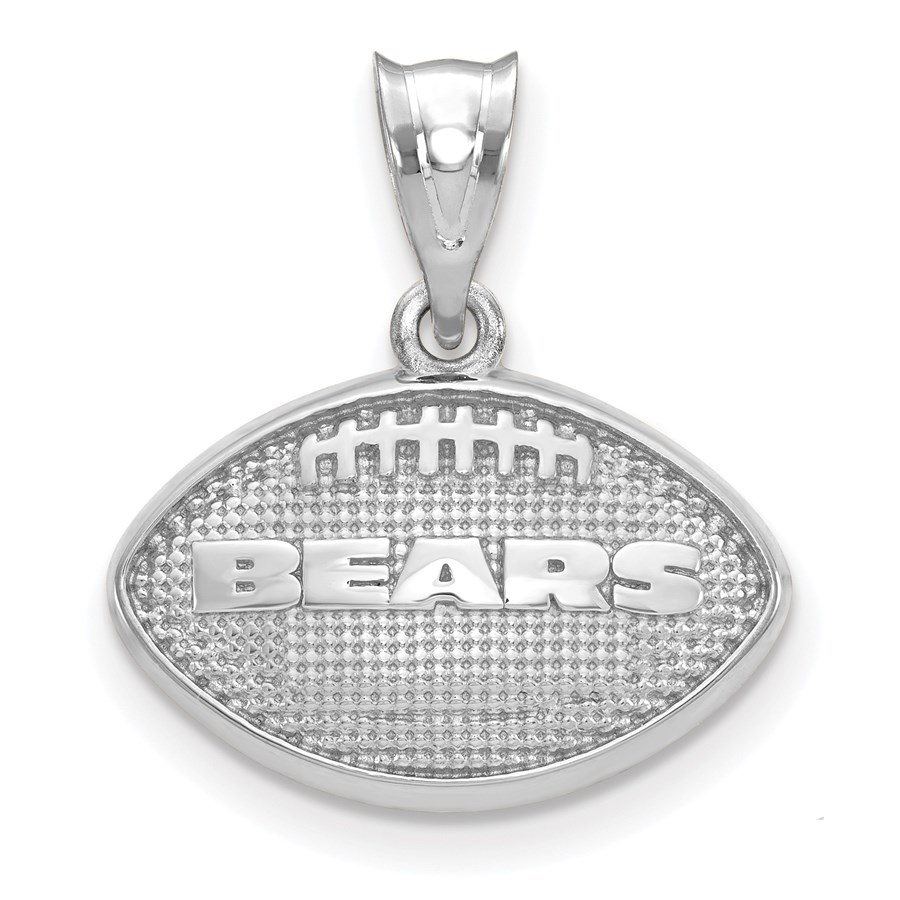 Sterling Silver Chicago Bears Football with Logo Pendant