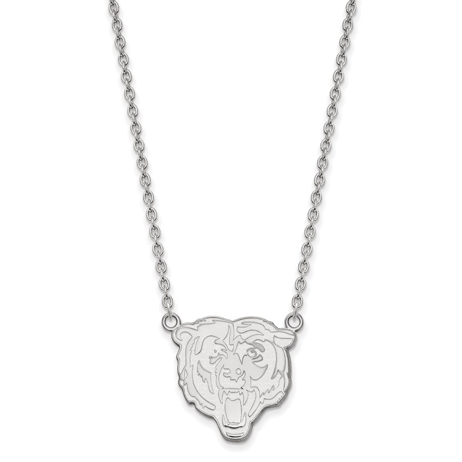 Sterling Silver Chicago Bears Large Pendant Necklace