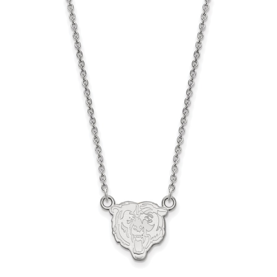 Sterling Silver Chicago Bears Small Pendant Necklace