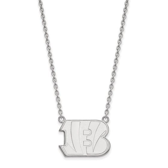 Sterling Silver Cincinnati Bengals Large Pendant Necklace