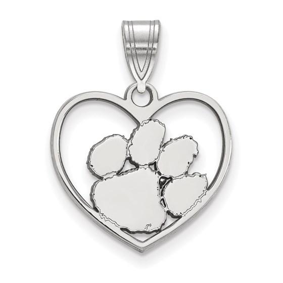 Sterling Silver Clemson University Heart Pendant