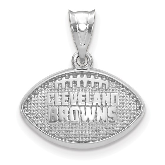 Sterling Silver Cleveland Browns Football with Logo Pendant