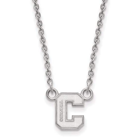 Sterling Silver Cornell Univ. Small Pendant Necklace - 18 in.