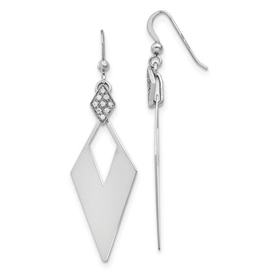 Sterling Silver Crystal Diamond Shape Dangle Earrings - 59 mm