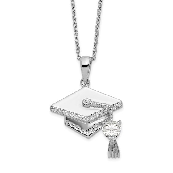 Sterling Silver CZ Graduation Cap Necklace - 17.5 in.