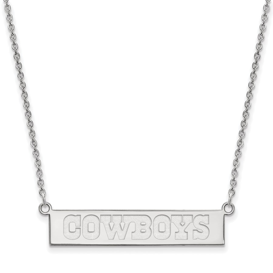 Sterling Silver Dallas Cowboys Small Bar Necklace