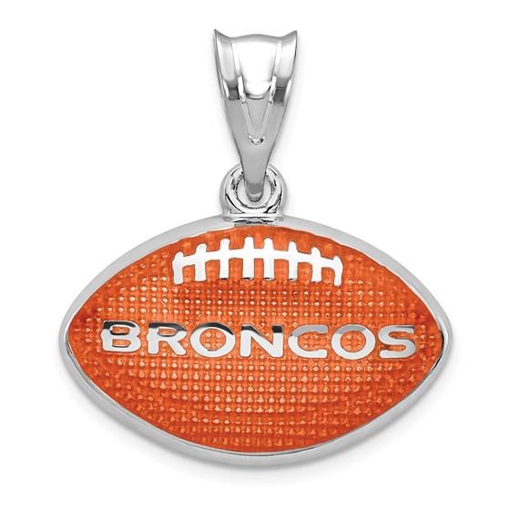 Sterling Silver Denver Broncos Enameled Football Pendant