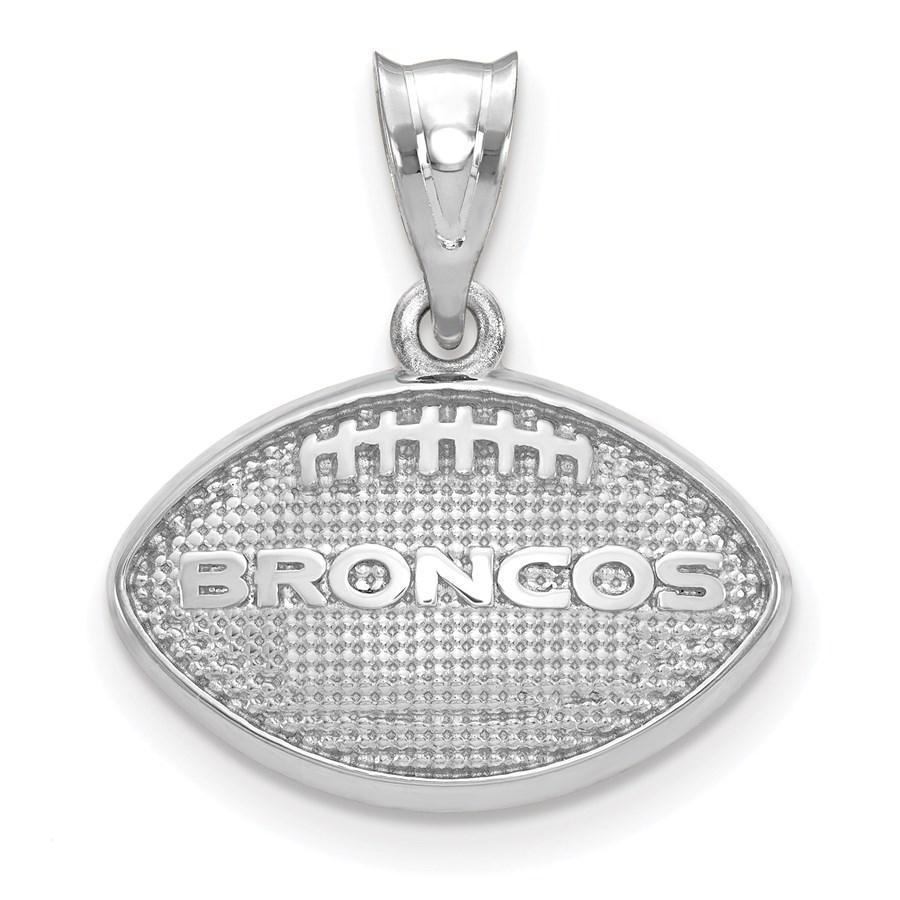Sterling Silver Denver Broncos Football with Logo Pendant