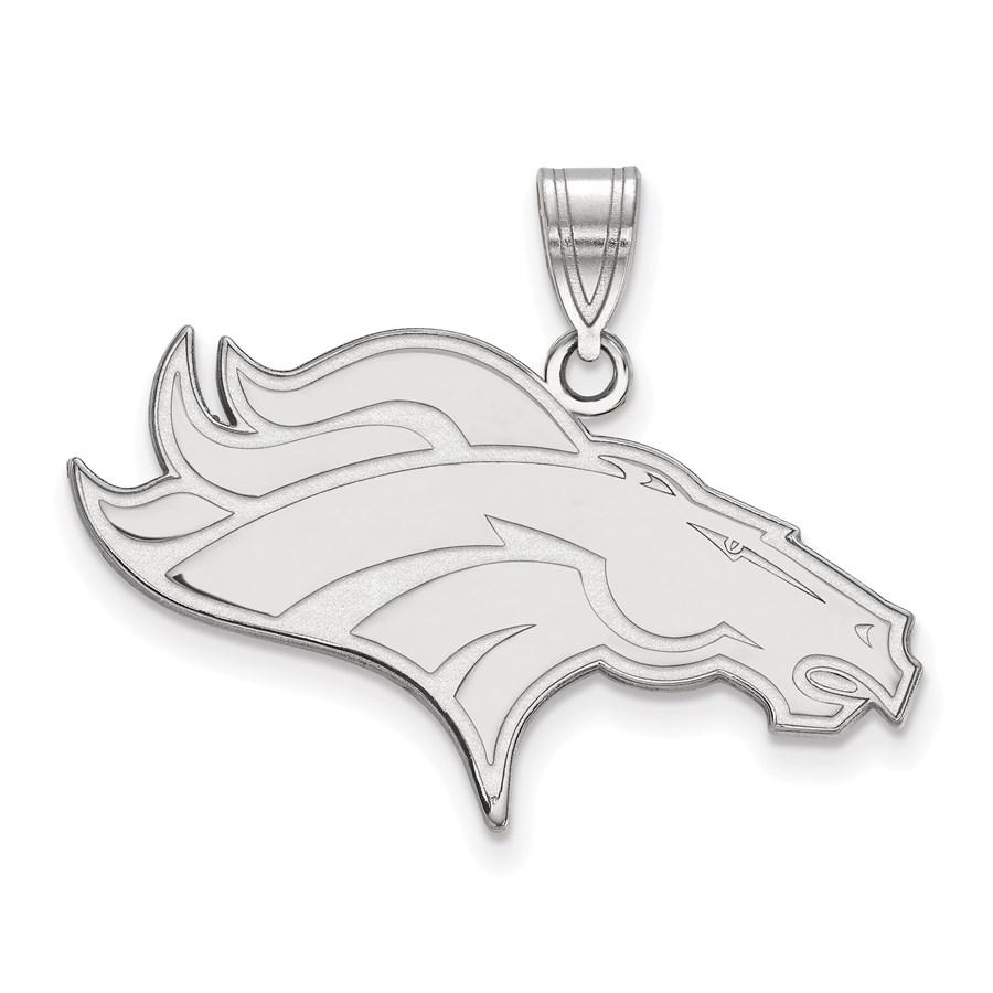 Sterling Silver Denver Broncos Large Pendant
