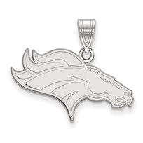 Sterling Silver Denver Broncos Medium Pendant