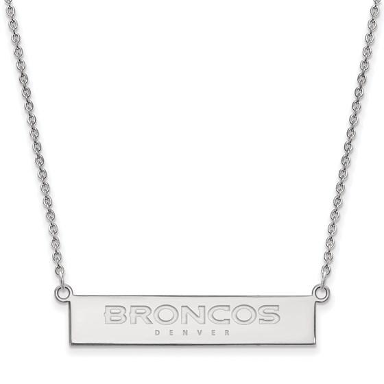 Sterling Silver Denver Broncos Small Bar Necklace