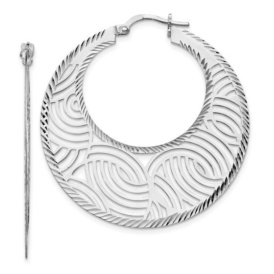 Sterling Silver Fancy Polished Cut-out Hoop Earrings - 39 mm