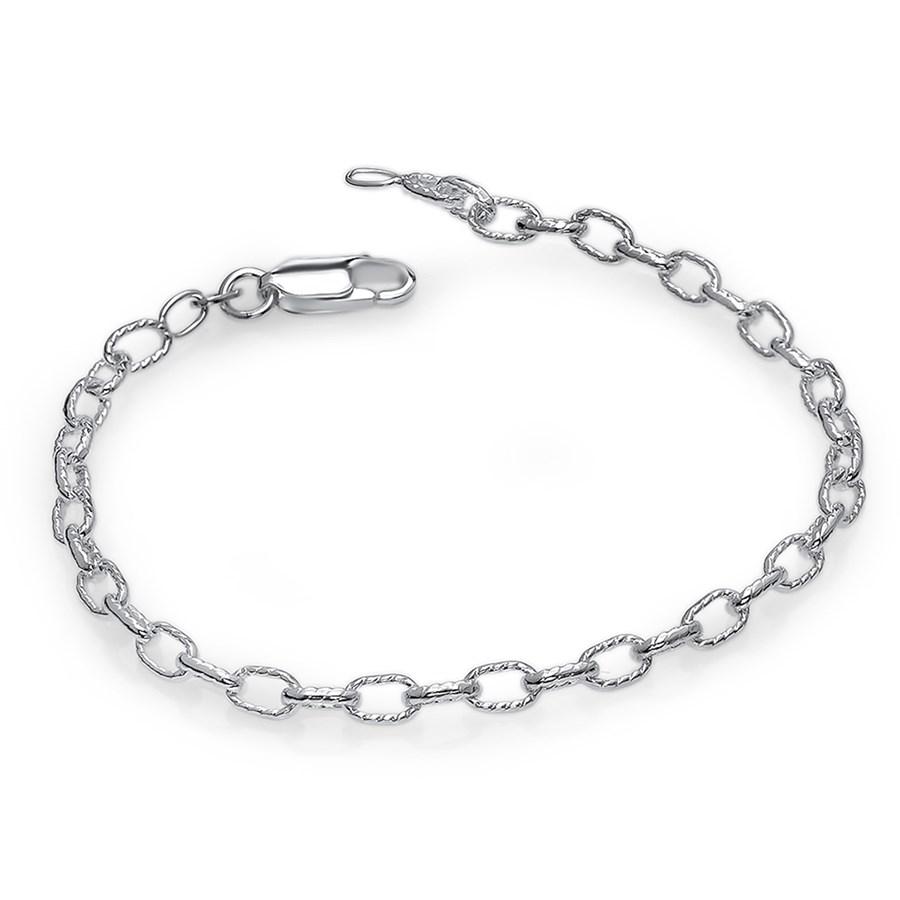 """Sterling Silver Fancy Rolo Chain 7"""" Bracelet"""