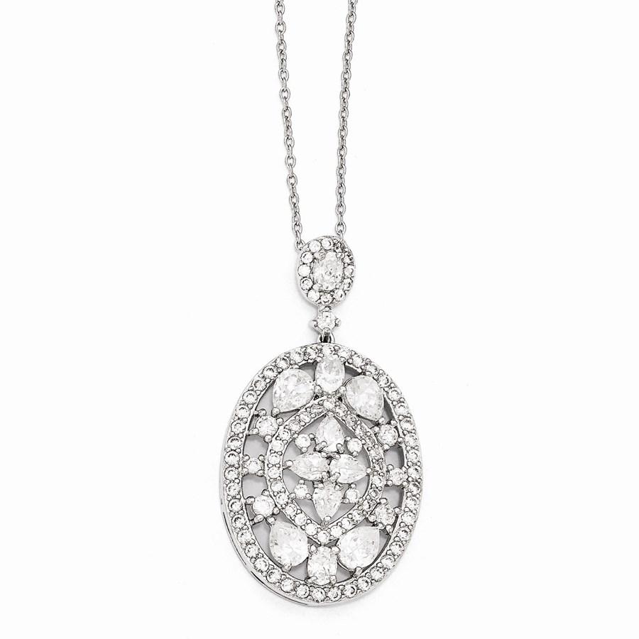 Sterling Silver Fancy Zirconia Necklace