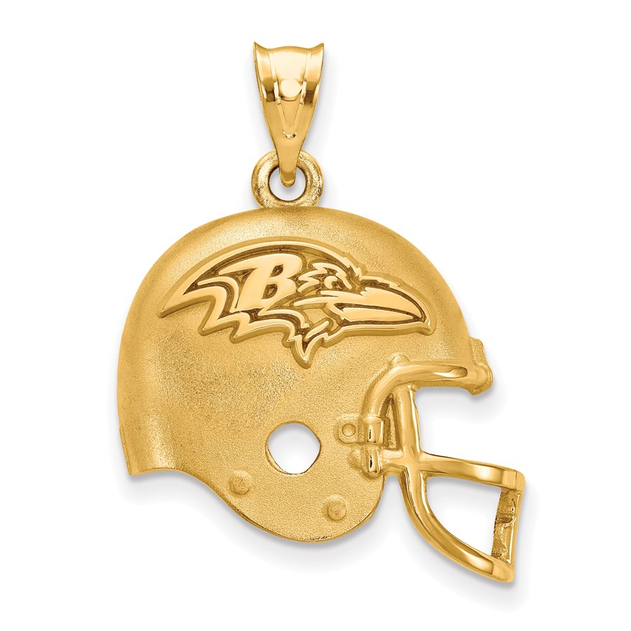 Sterling Silver Gold-plated Baltimore Ravens Helmet Pendant