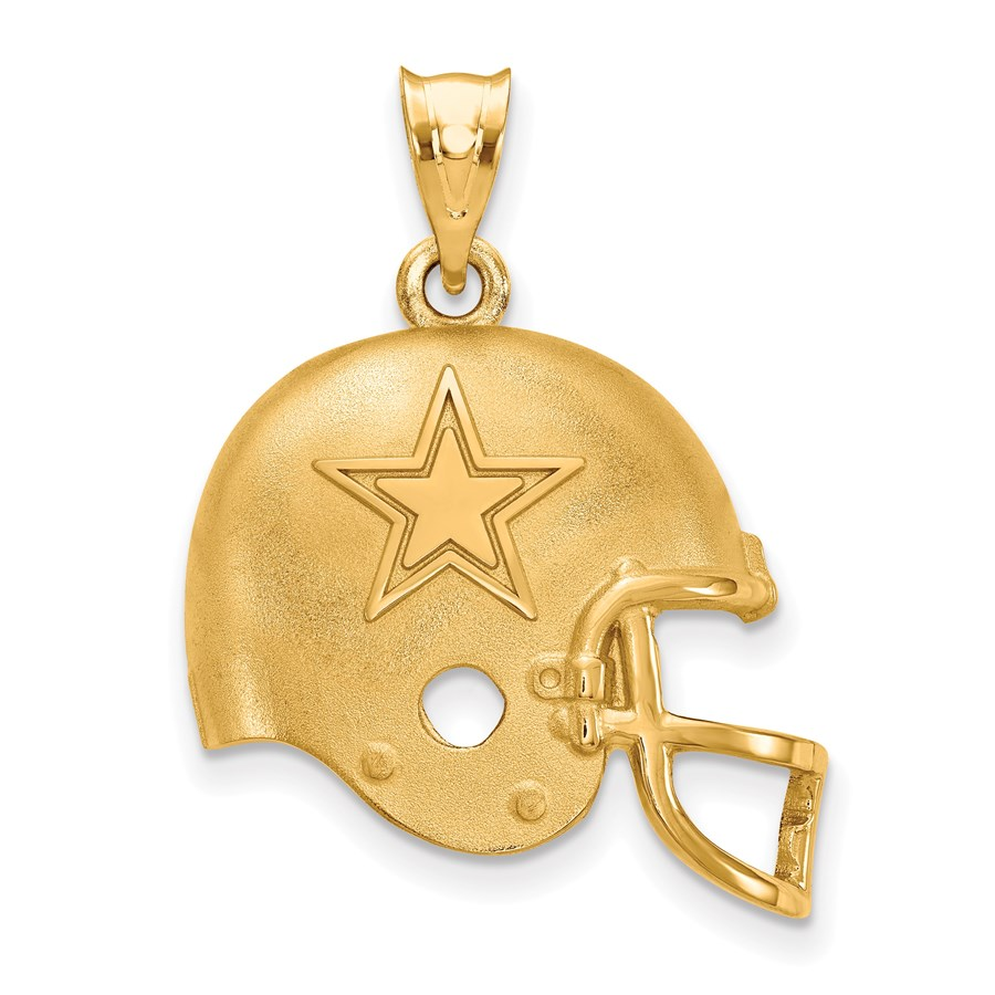 Sterling Silver Gold-plated Dallas Cowboys Football Pendant