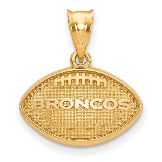 Sterling Silver Gold-plated Denver Broncos Football Pendant