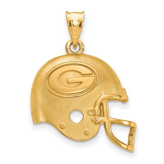 Sterling Silver Gold-plated Green Bay Packers Helmet Pendant
