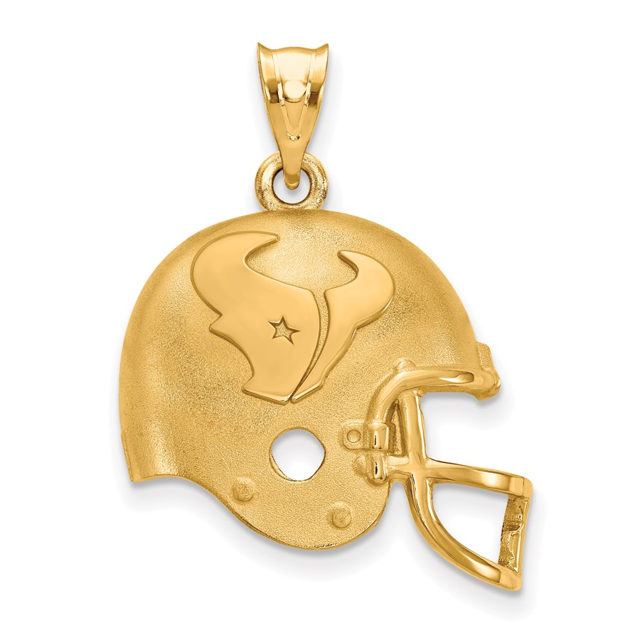 Sterling Silver Gold-plated Houston Texans Football Pendant