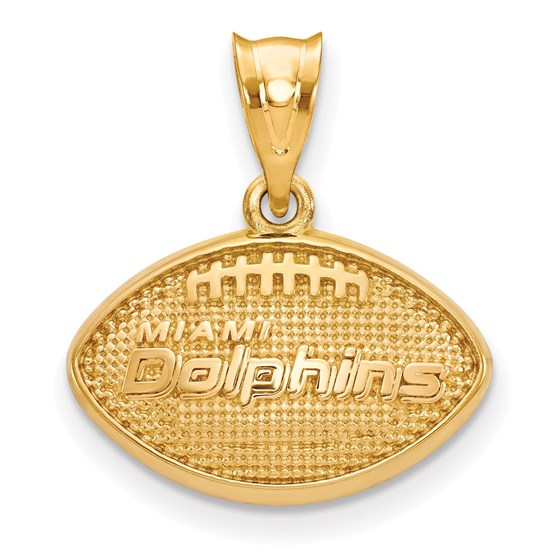 Sterling Silver Gold-plated Miami Dolphins Football Pendant