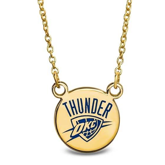 Sterling Silver Gold Plated NBA OKC Thunder Sm Enamel Necklace