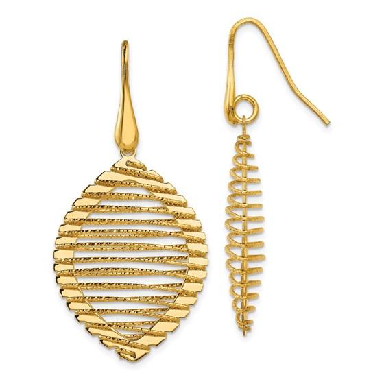 Sterling Silver Gold-plated Shepherd Hook Earrings - 46 mm