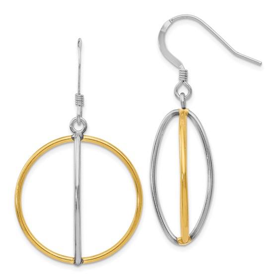 Sterling Silver Gold-tone 18K Dangle Earrings - 44 mm