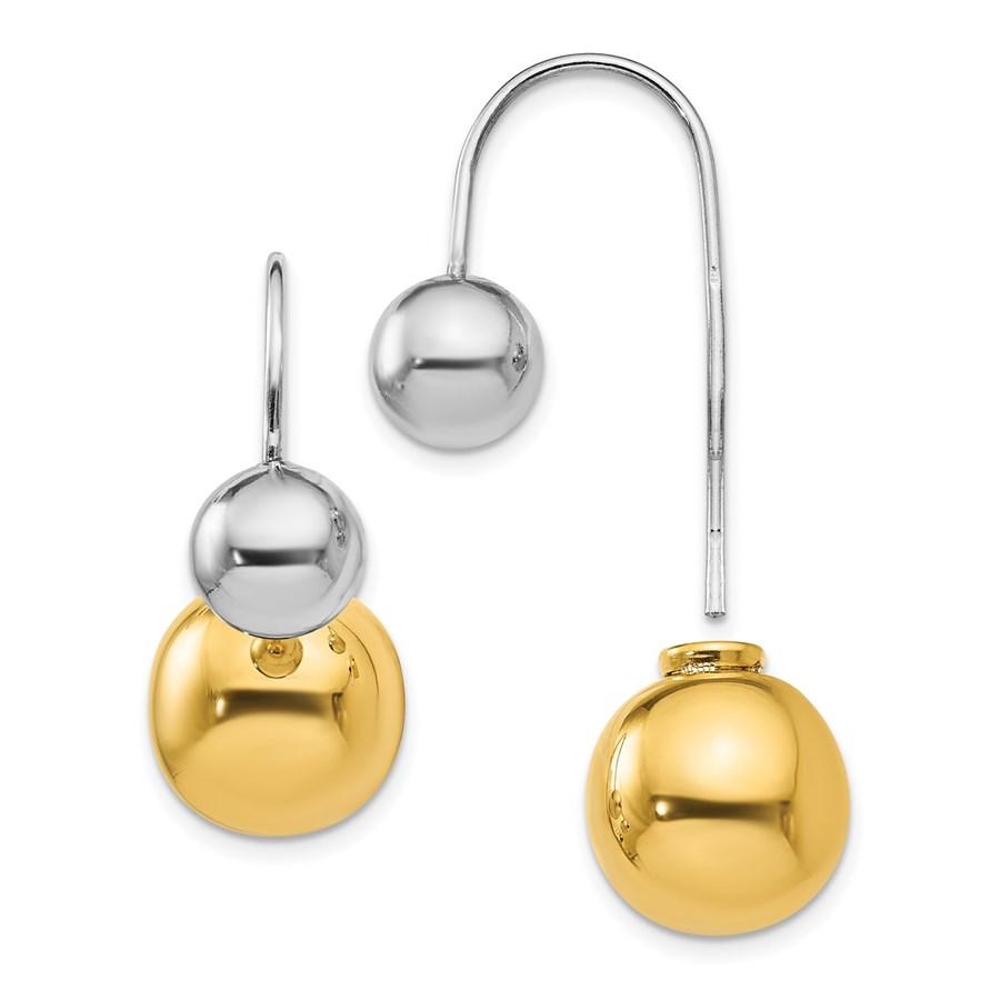Sterling Silver & Gold-tone Dangle Earrings - 28 mm