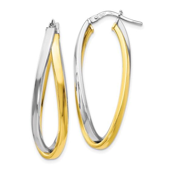 Sterling Silver Gold-tone Polished Hoop Earrings - 38 mm