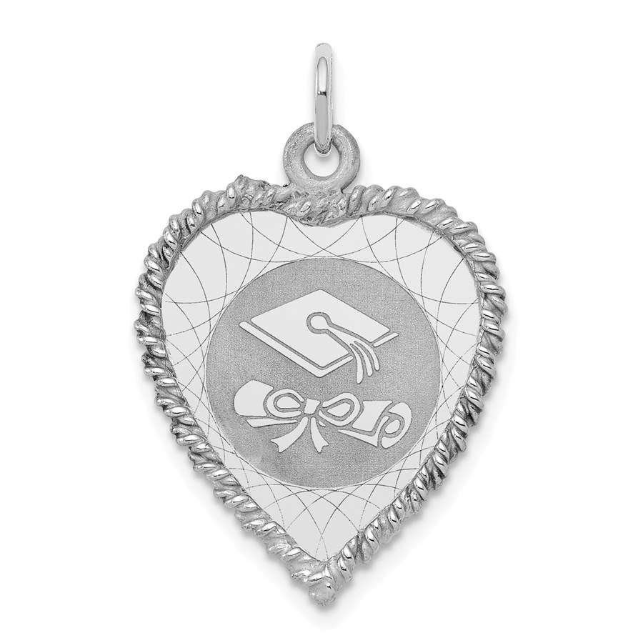 Sterling Silver Graduation Cap & Diploma Disc Charm -3268B