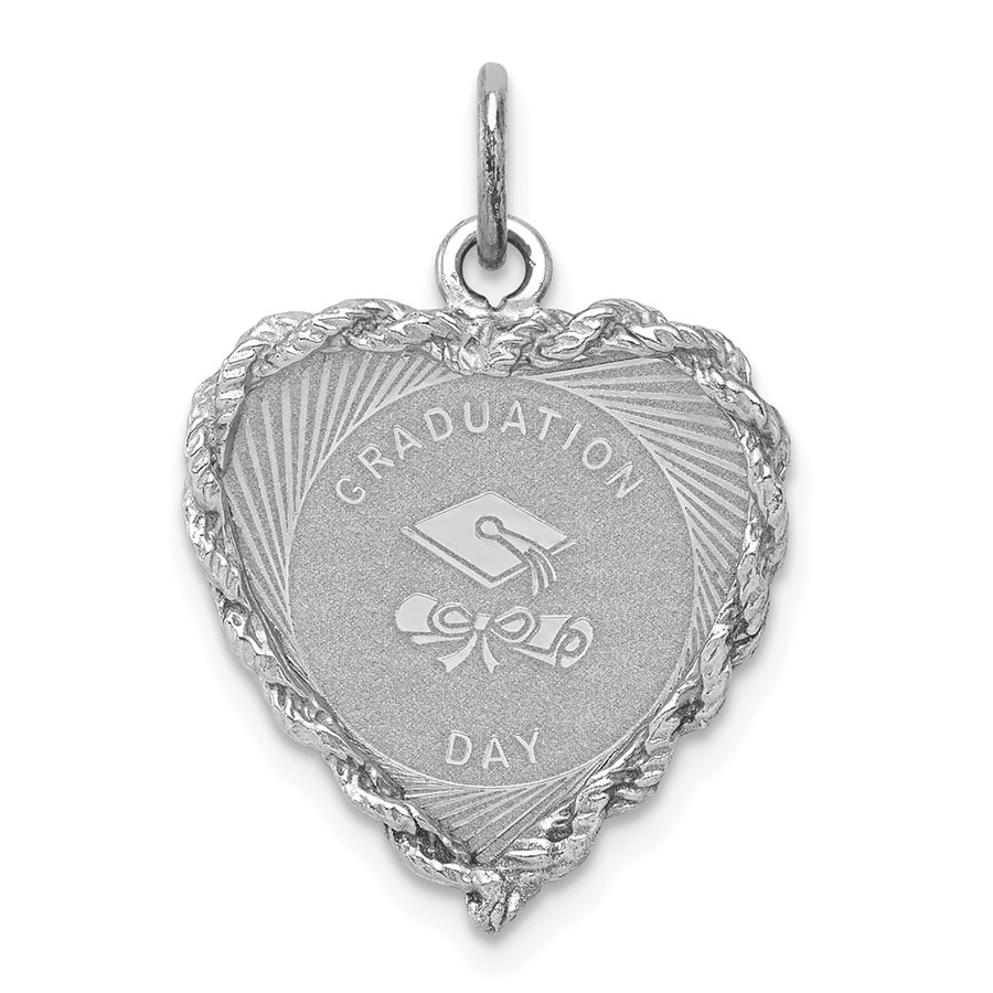 Sterling Silver Graduation Cap & Diploma Disc Charm -3269B