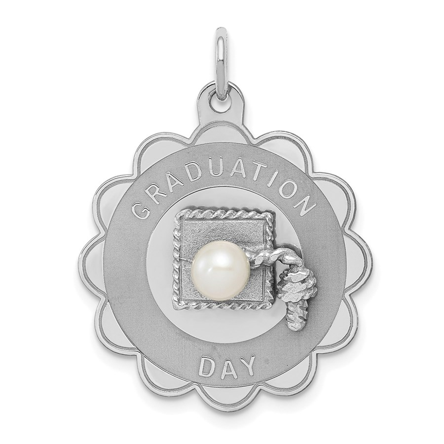 Sterling Silver Graduation Day Disc with FW Cultured Pearl Charm
