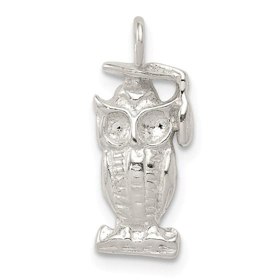 Sterling Silver Graduation Owl Charm