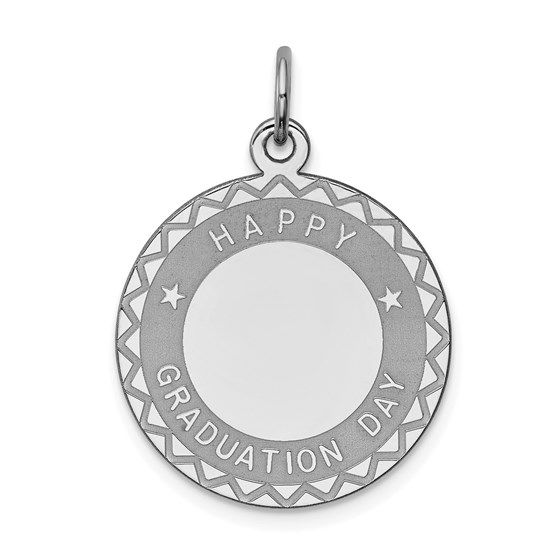 Sterling Silver Happy Graduation Disc Charm